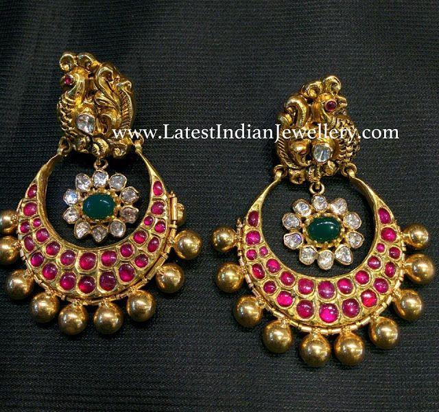 Peacock Nakshi Chandbalis with Rubies | Jewellery | Jewelry