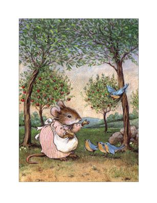 Wee Forest Folk Note-4 Bluebirds Note Card Set of 6