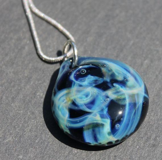 Night Sky Pendant Starry Night Necklace Lampwork Blown Boro