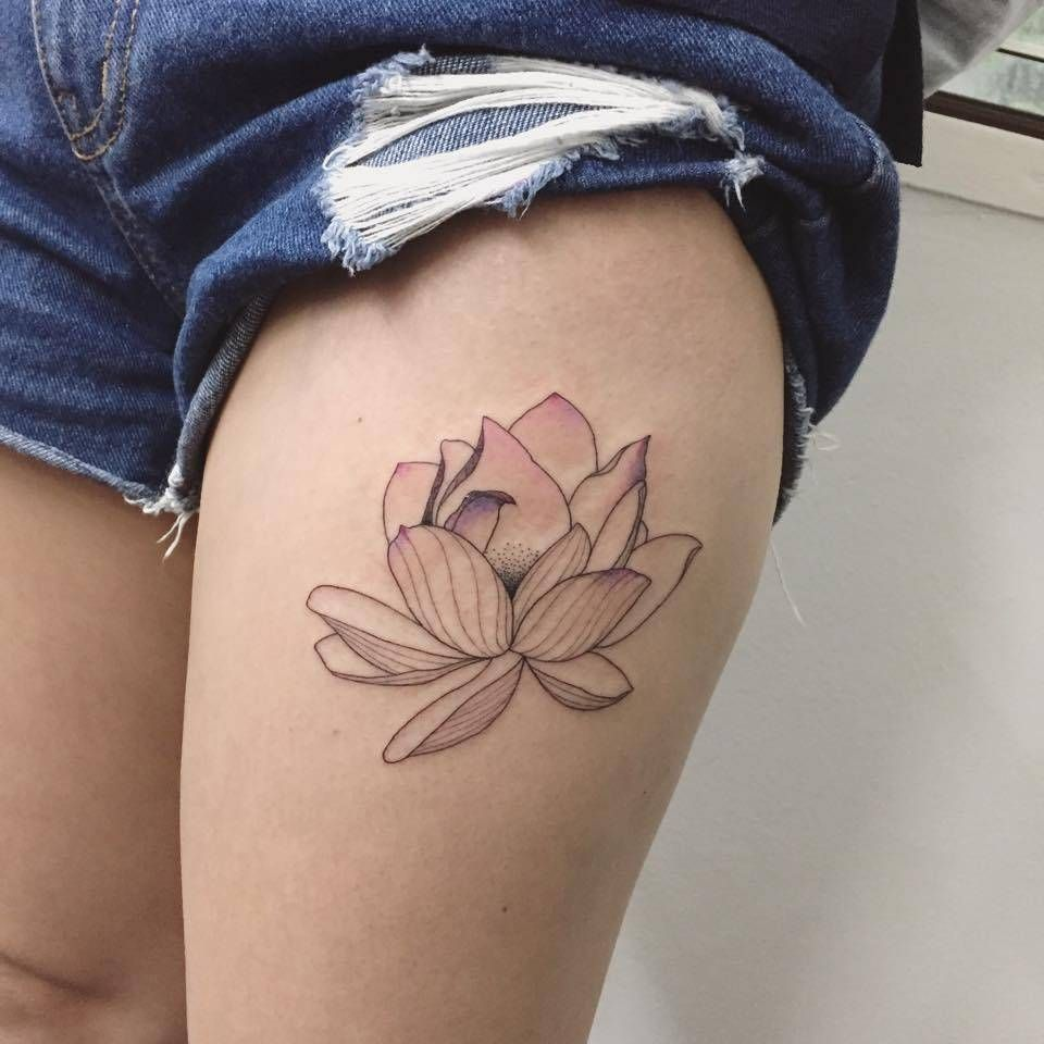 Illustrative Style Lotus Flower Tattoo On The Left Thigh Tattoo