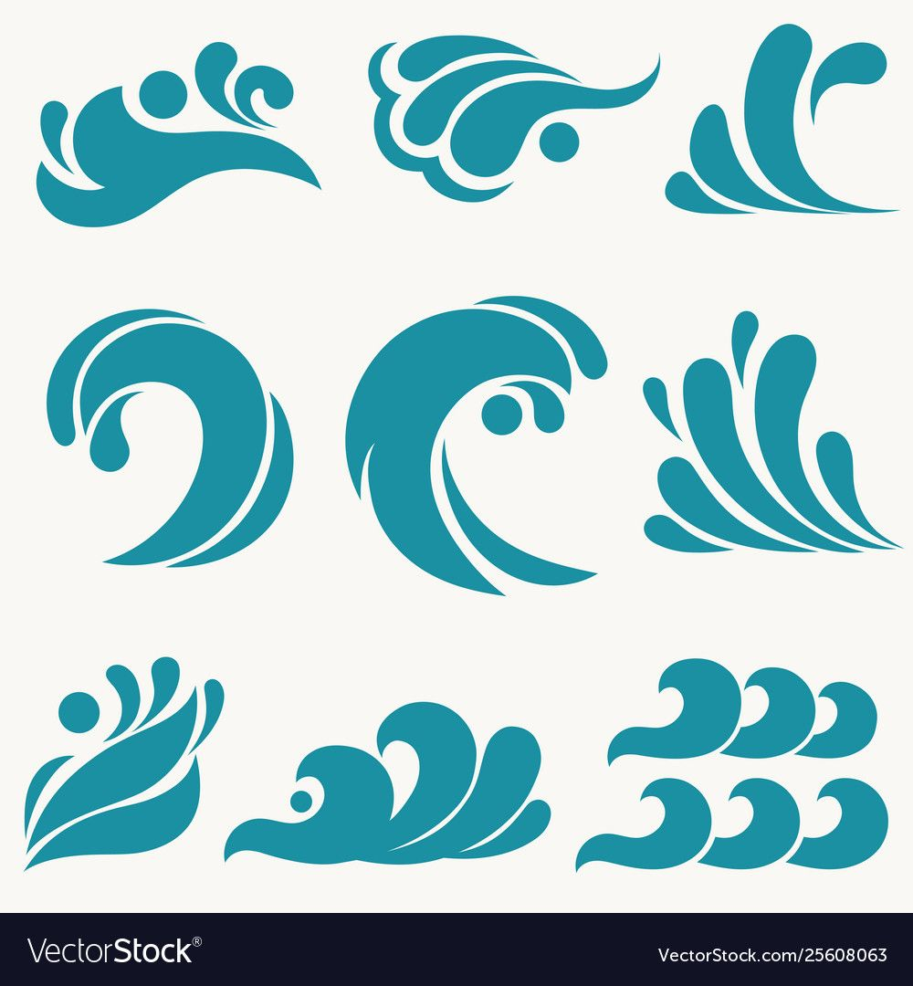 Water Design Elements Sea Wave Icon Ocean Symbol Surf And Splashes Set Curling And Breaking Waves Icon Wave Illustration Watercolor Paintings For Beginners