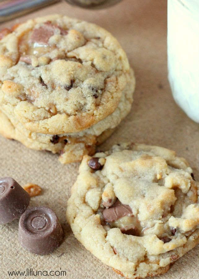 Delicious Rolo Toffee Bit Cookies Recipe. Soft cookies made with mini chocolate chips, toffee bits, & rolos!