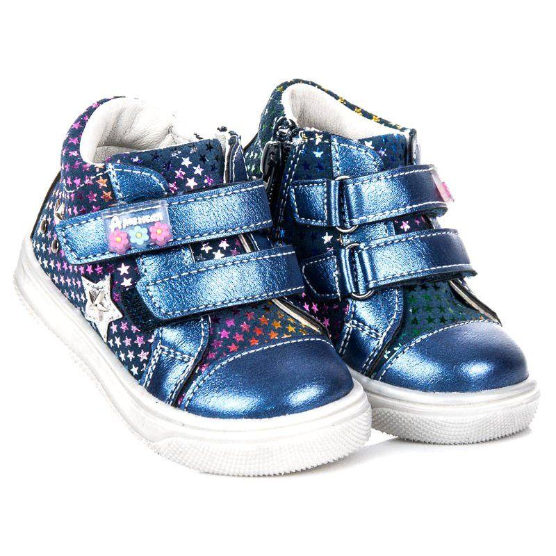 Buty Sportowe Dzieciece Dla Dzieci Americanclub Niebieskie Sportowe Buciki W Gwiazdki American Club Baby Shoes Wedge Sneaker Sneakers