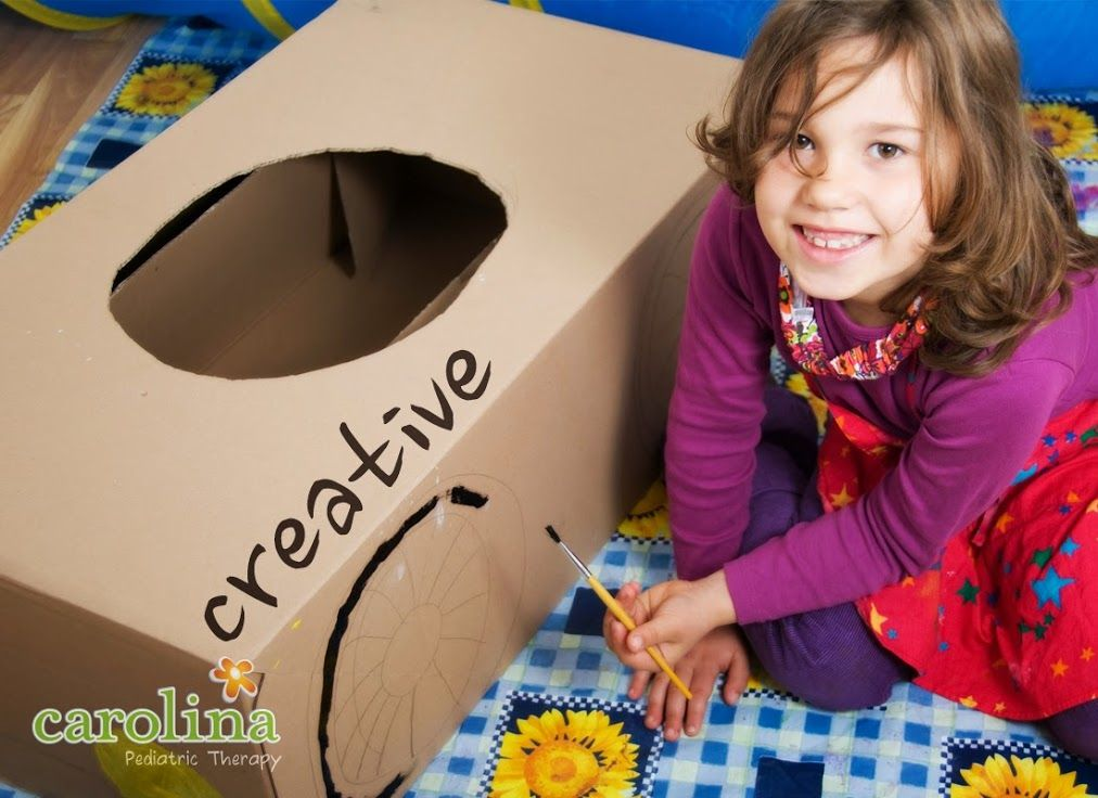 Let your child play with old cardboard boxes before you recycle them. Watch her…