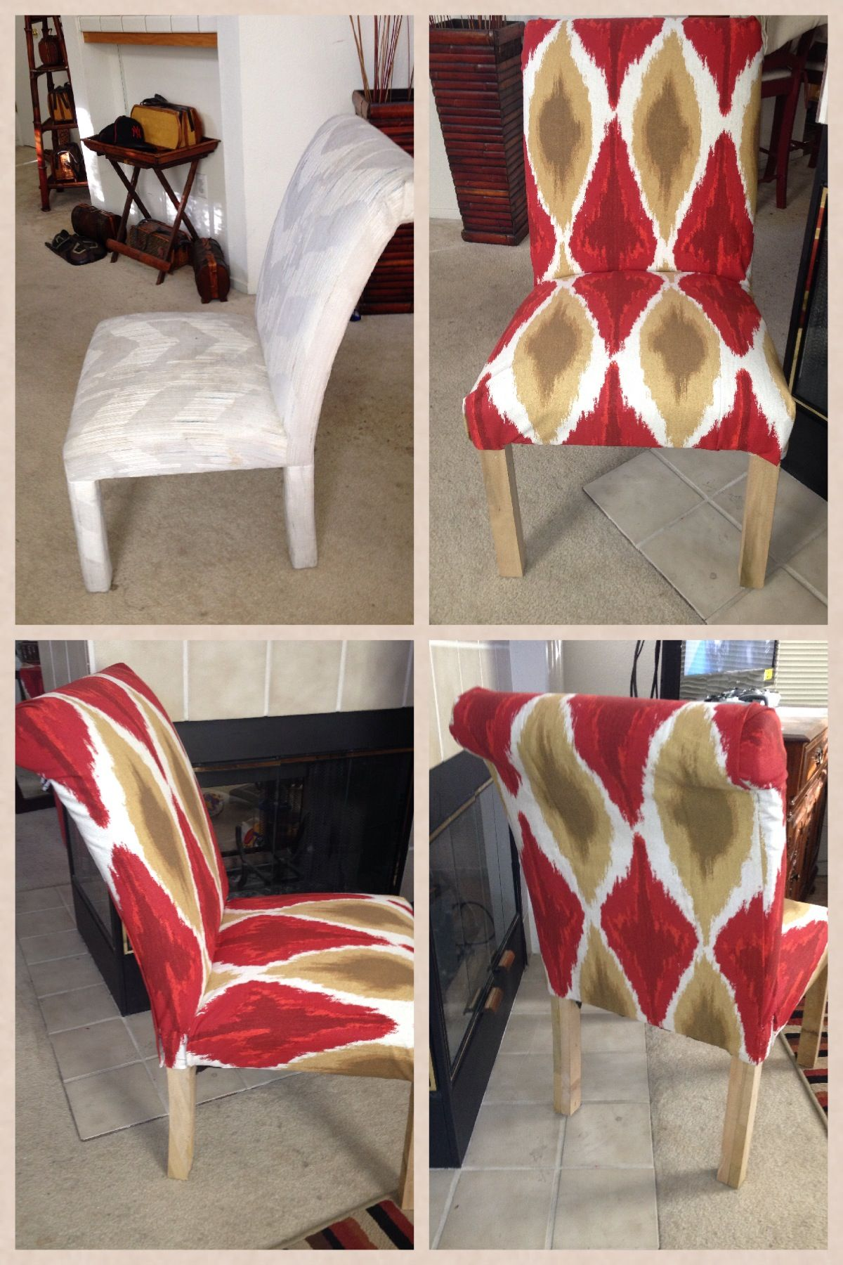 Old 80 s Parson Chair I recovered w a fabric shower curtain from