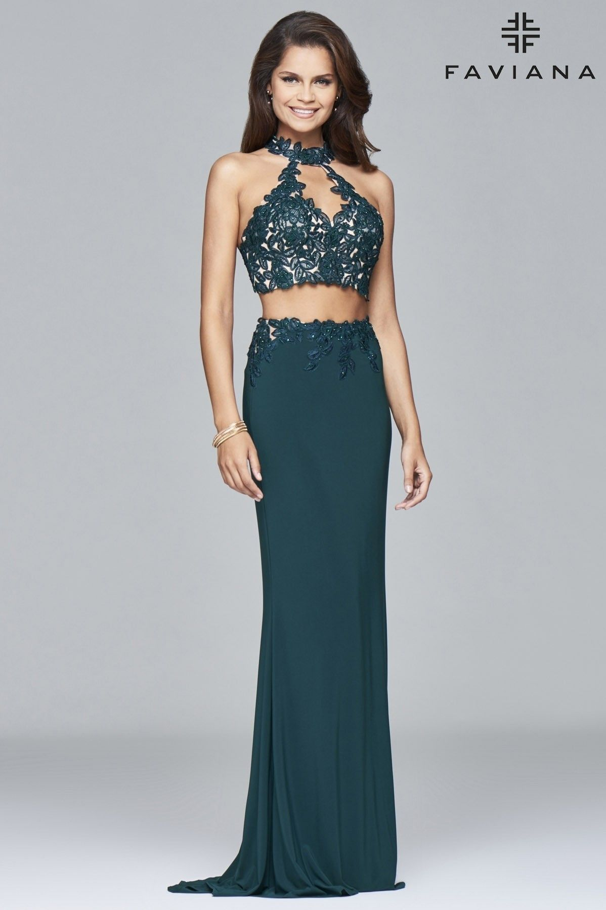43c834654b5 FAVIANA 7967 is a green jersey two-piece with lace top.  green  sexy   flirty  dress  trendy  faviana  prom