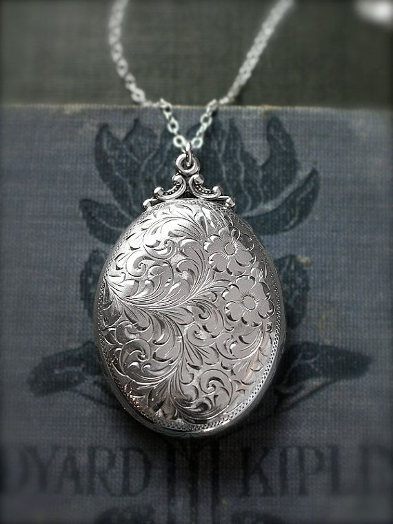 Want sterling silver locket necklace large oval floral by sterling silver locket necklace large oval floral by tforedgar aloadofball Gallery