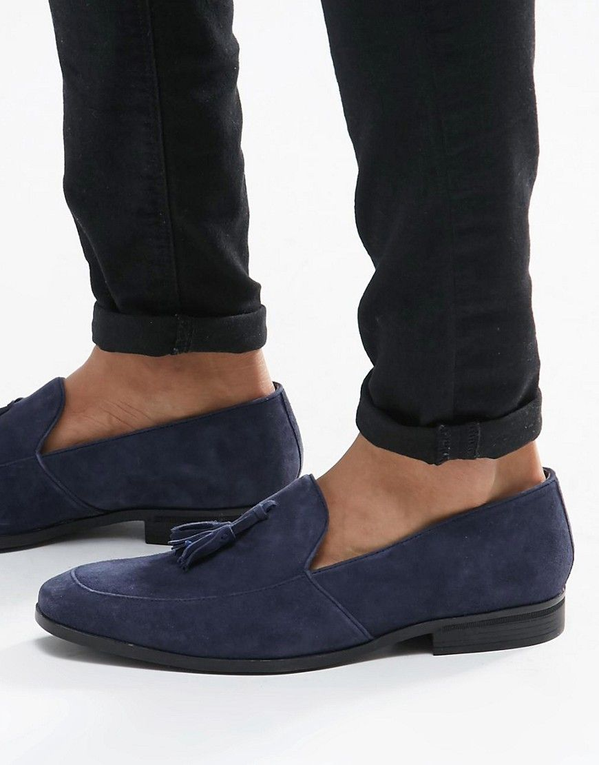 48512985fd3 Dune Tassel Loafers In Navy Suede - Blue