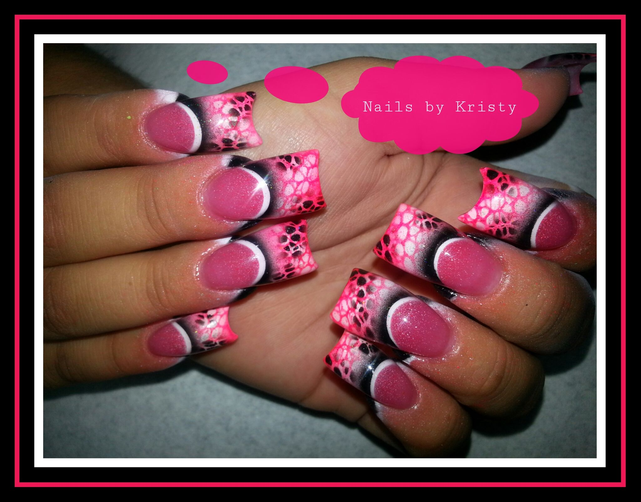 Mesh.it.up long curved c cut acrylic nails by Kristy ...