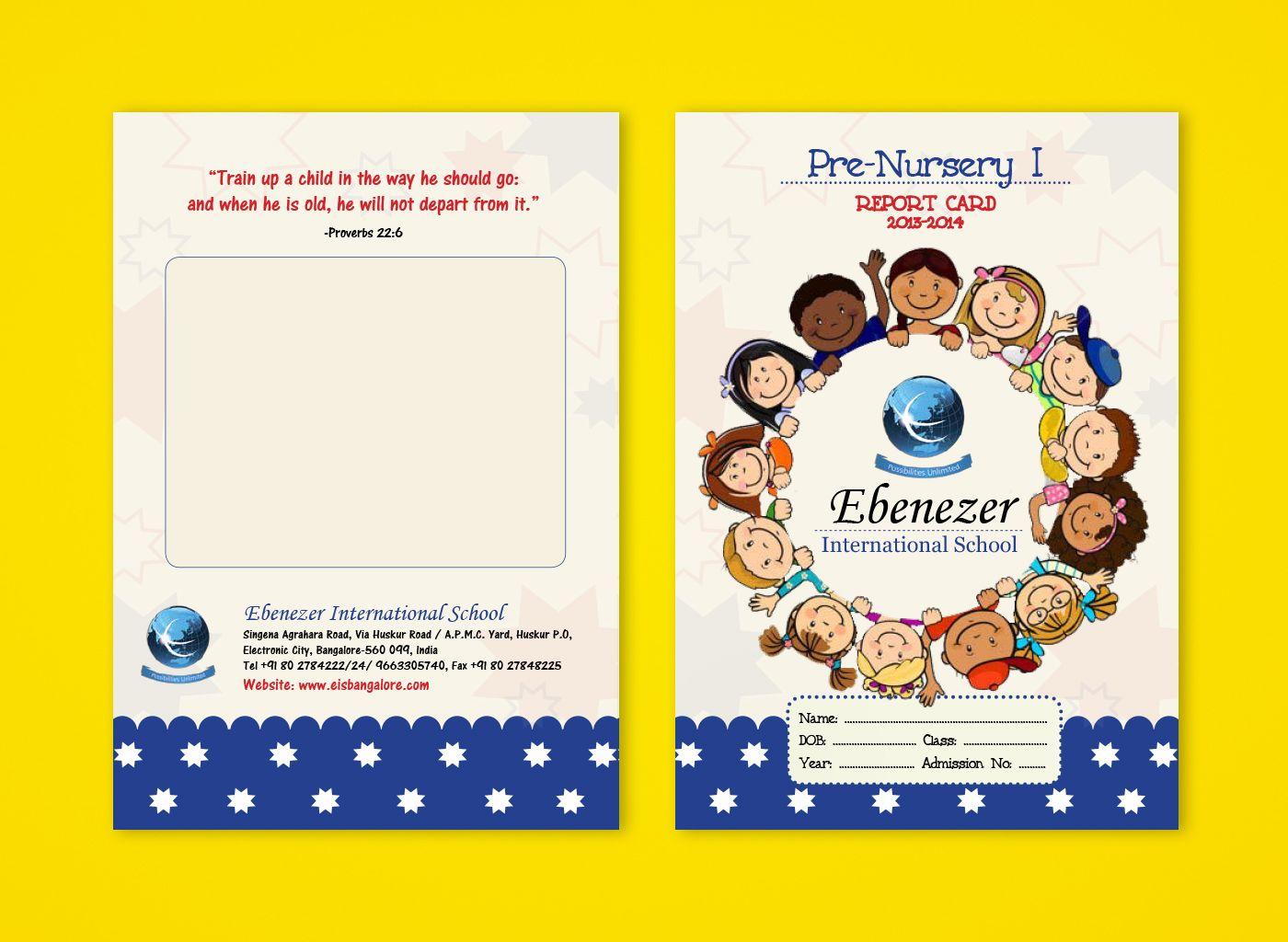 Pre Nursery Report Card On Behance Report Card Template Kindergarten Report Cards School Report Card