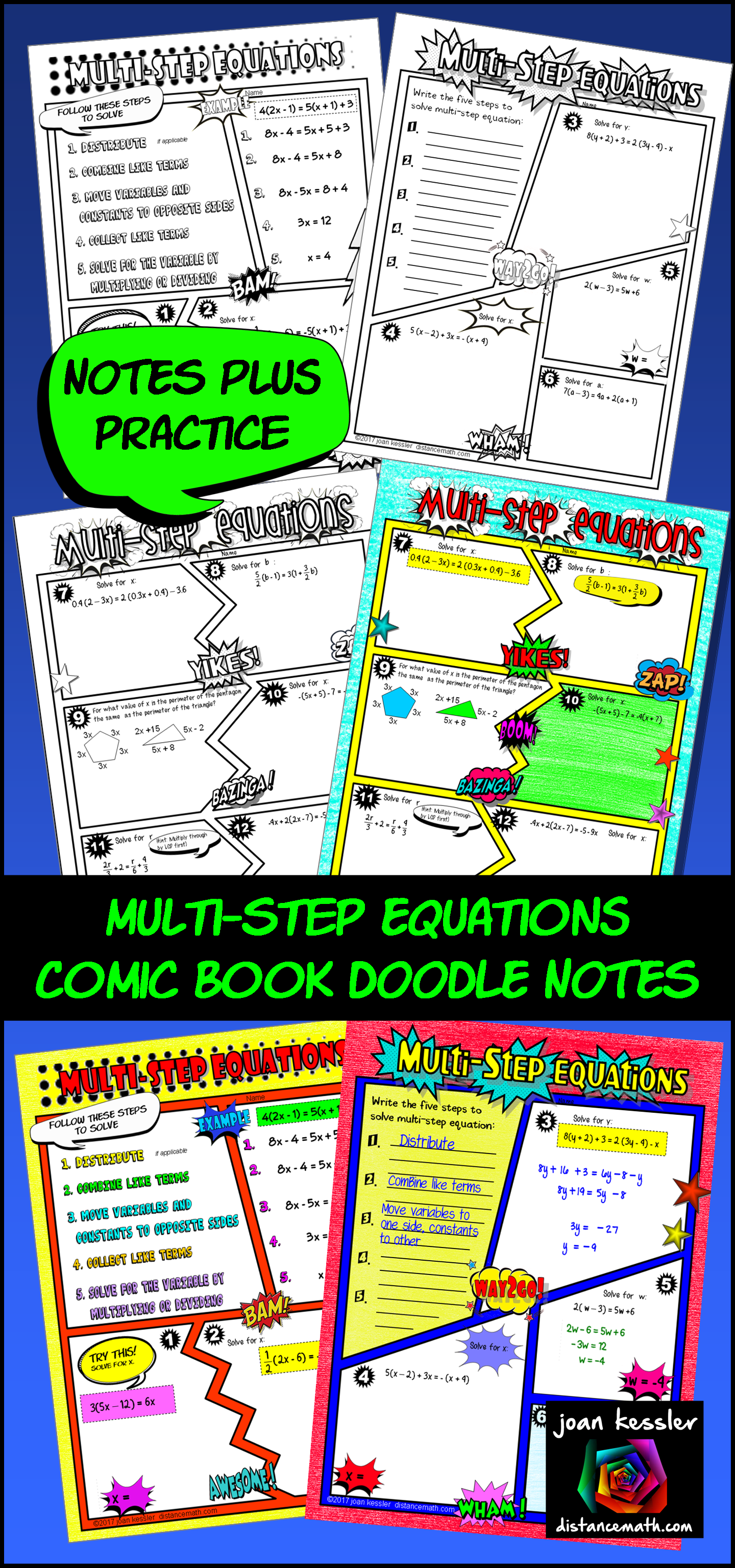 Multi Step Equations Comic Book Doodle Notes And Practice