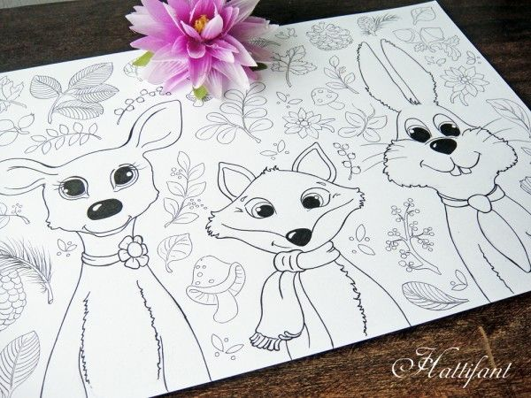Coloring Pages That Look Like Real Animals : Woodland animals coloring pages for grown ups & kids woodland