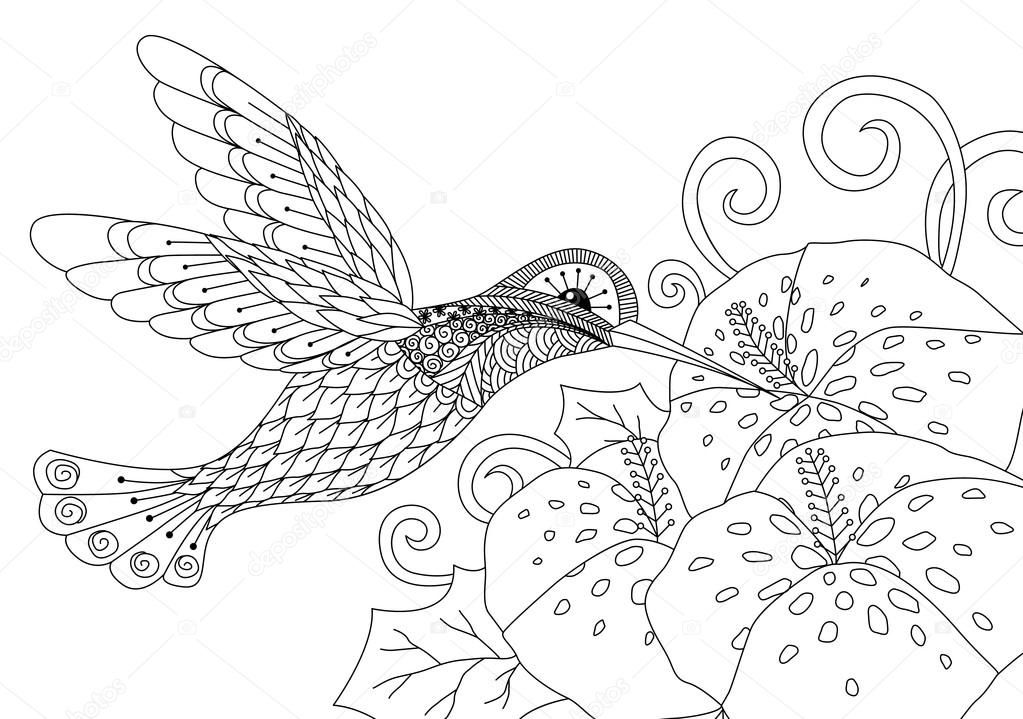 Descargar - Zentangle tarareando diseño de pájaro para colorear ...