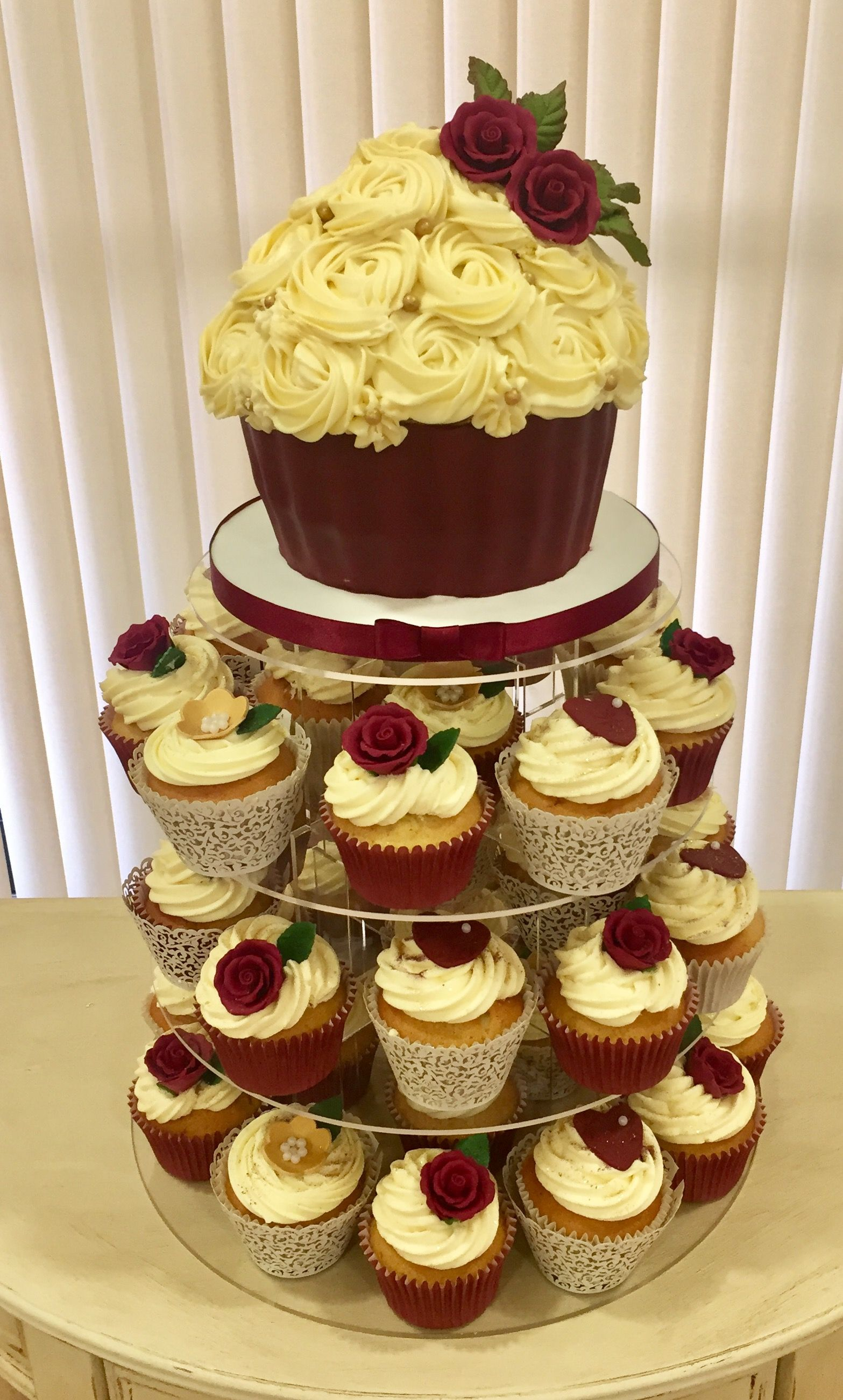 Burgundy wedding cupcake tower with large cupcake | My wedding cakes ...