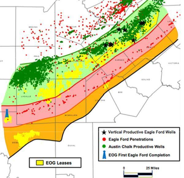 The Picture Above Shows EOG's Acreage (yellow) In The