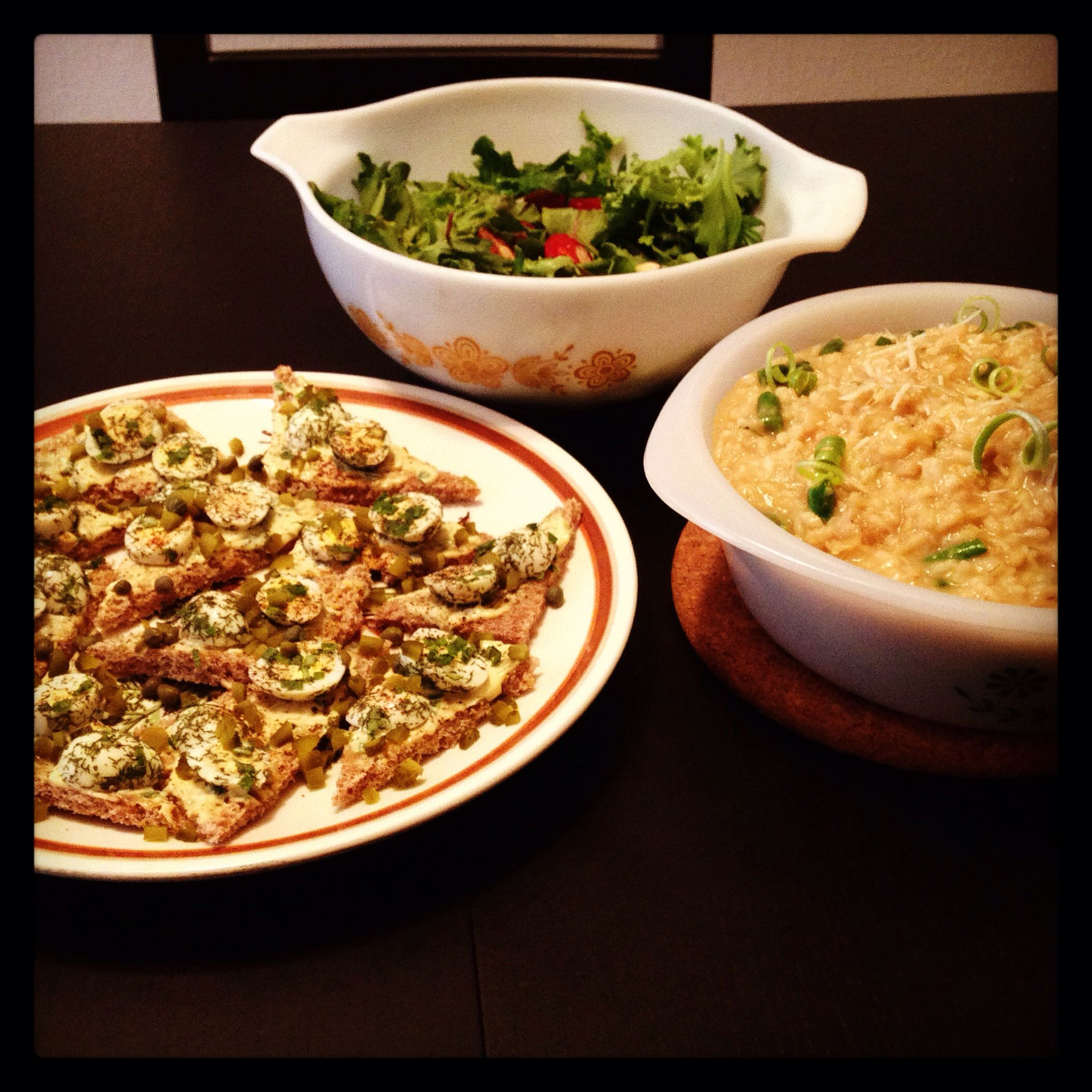 Herbed deviled quail egg bruschetta, risotto and simple salad.