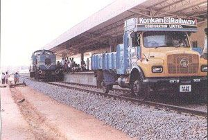 Truck on rail tracks...It happens only in India.