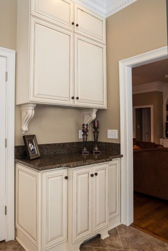 Cream Cabinets With Light Glaze And Tropical Brown Granite Beige