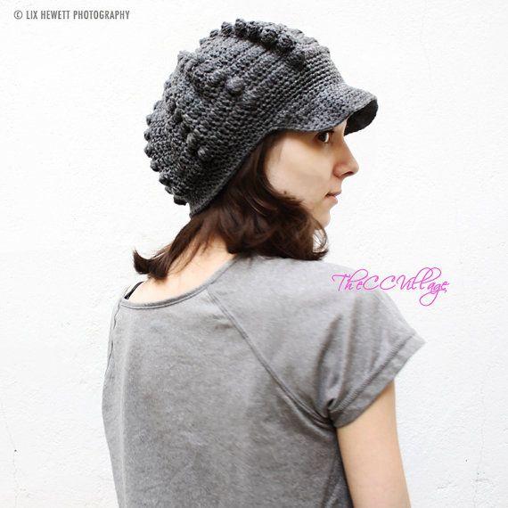 Grey Crochet Womens Hats, crochet Teen Hat, crochet woman Cap, Beanie