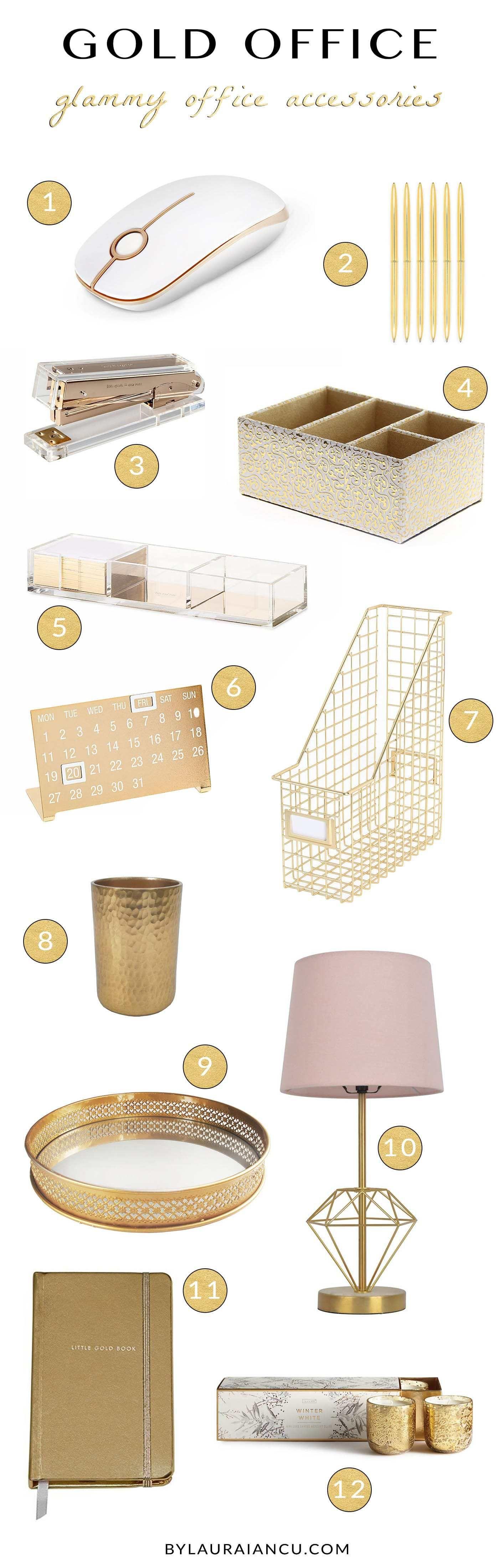 Gold Desk Accessories | Of Mercer Blog (me\u003dwhite/gold/pink) | Home ...