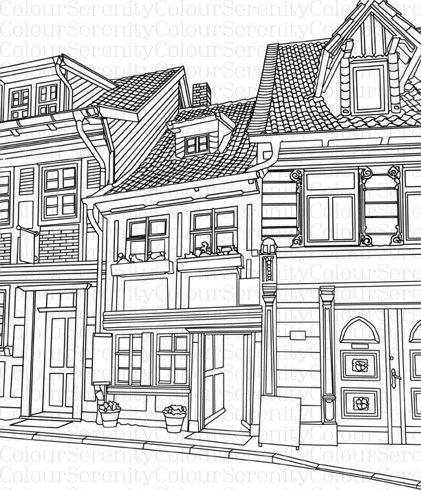 free coloring pages of buildings | Adult Coloring Page - Buildings - Printable Instant ...