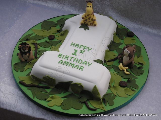 Number 1 Cake Jungle Animals Large number 1 numerical shaped