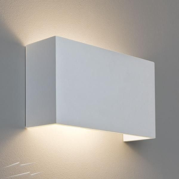 Pella 325 Rectangular Plaster Wall Lamp Paintable For Up And Down Lighting