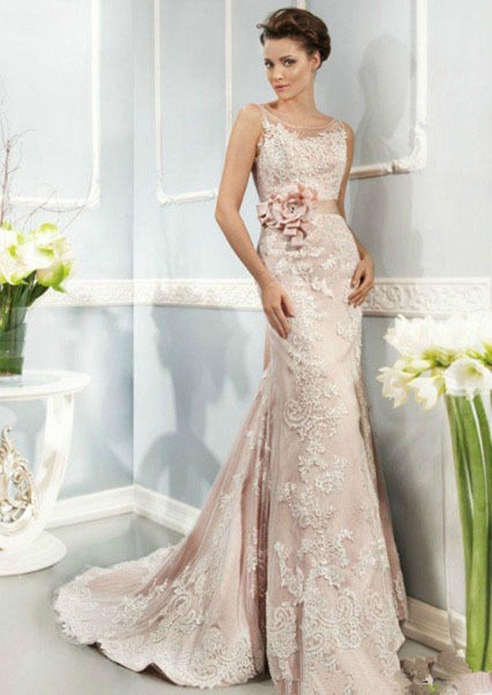 2014 New Pink Formal Wedding dress Bridal Gown Custom Size 4 6 8 10 12 14 16 20+