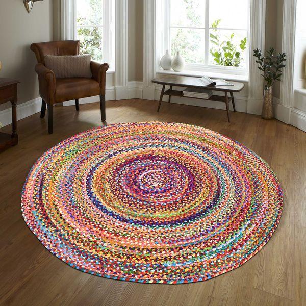 CHINDI RUG Indian Design Recycled Floor Rug, Round Medium