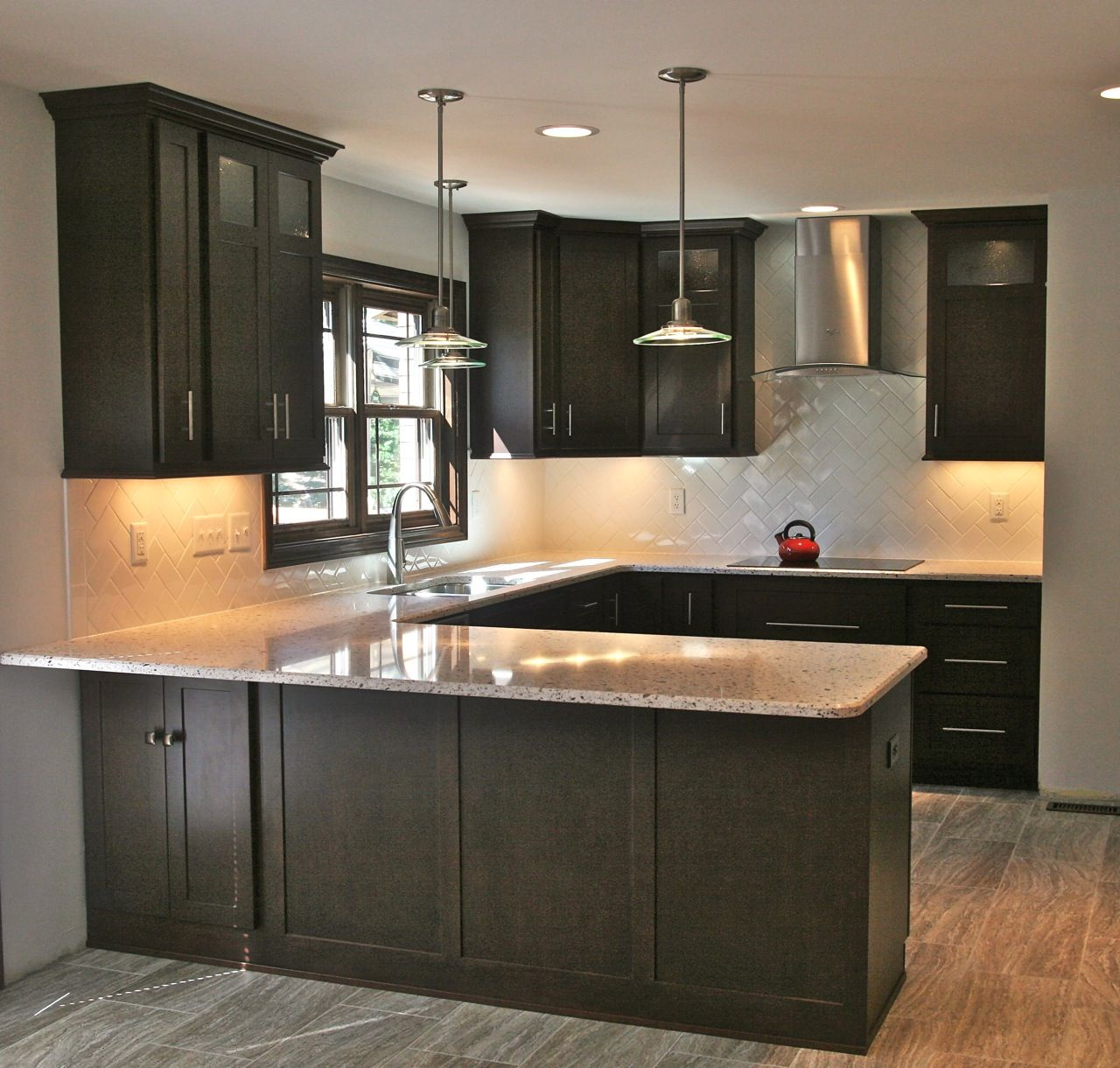 White Cabinets Gray Subway Tile Kashmir White Granite: Dark Kitchen Cabinets, Kitchen Remodel