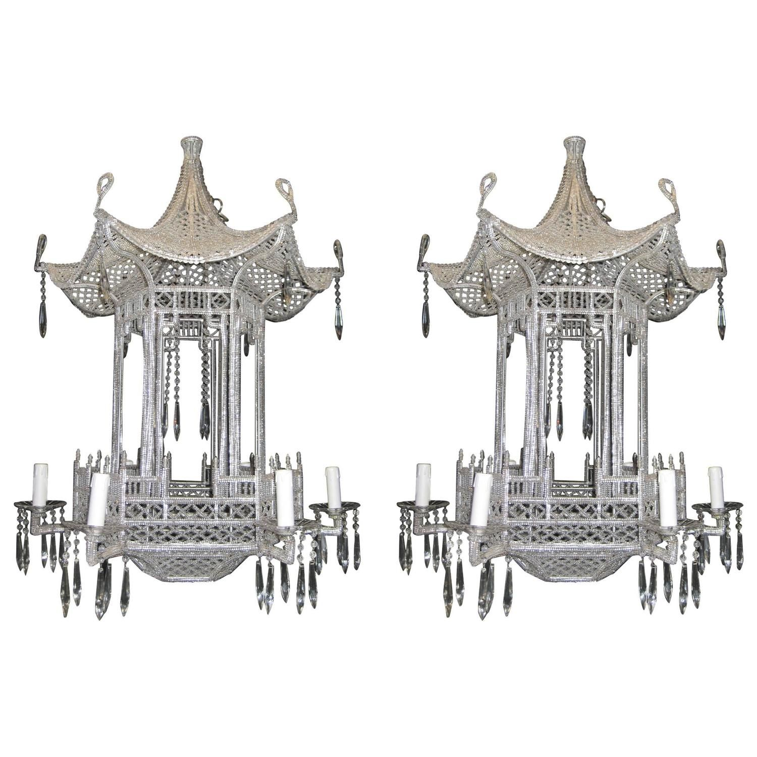 Pair of Italian Chinoiserie Pagoda Form Beaded Glass and Crystal