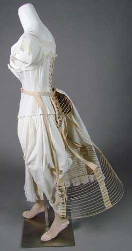 Layers of Underwear, 1880s: Achieving the Right Shape. Many layers were required to achieve the well-upholstered look of the Victorian lady. Washable cotton next to the skin protected finer outer fabrics. Corsets, hoops, and bustles along with layers of petticoats created the fashionable shape.