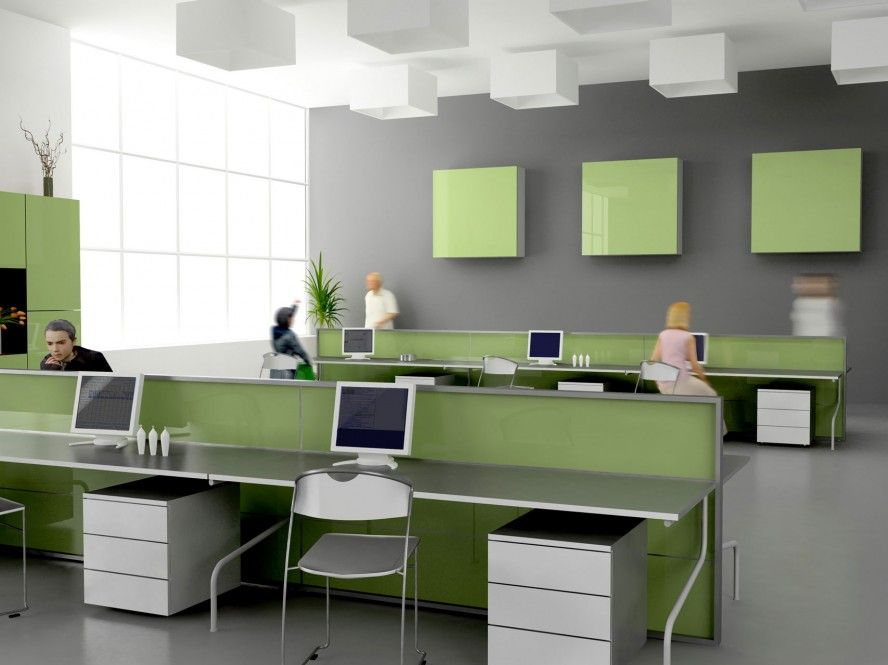 Open Office Interior Design And Furniture Interior Smart White Gray Small  Office Design Color Schemes Modern Long Table Computer Storage Open Plan  Floor ...