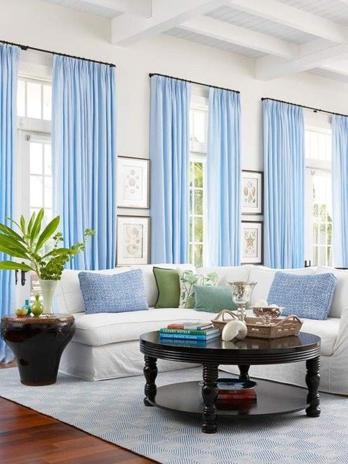Loveee Really Long Curtains With The Super Tall Ceilings In Rhpinterest: Bright Blue Curtains For Living Room At Home Improvement Advice