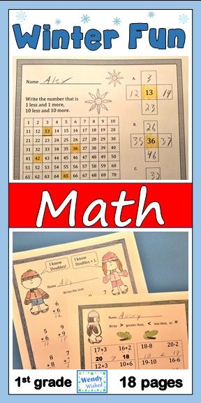January Winter Fun Math CCSS First Grade Just Print It (Common Core ...