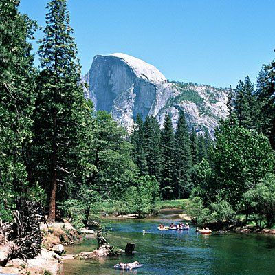 Best lazy float: Yosemite National Park, CA With El Capitan and Half Dome  towering