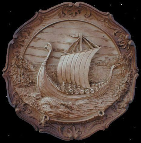 Viking ship relief carving wood carving wood working wood