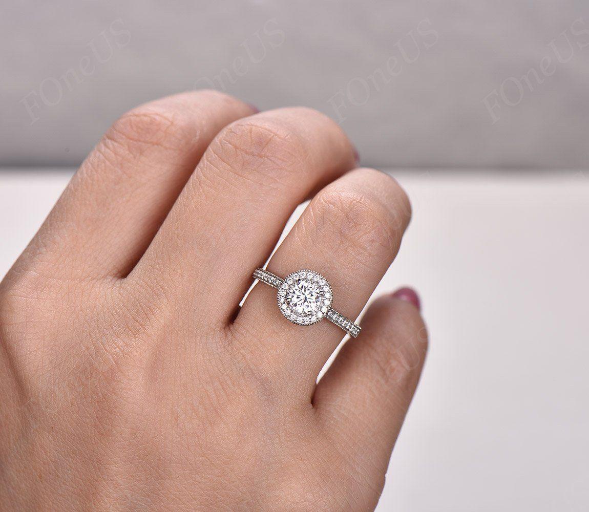 Custom Made Forever One moissanite ring 18K white gold