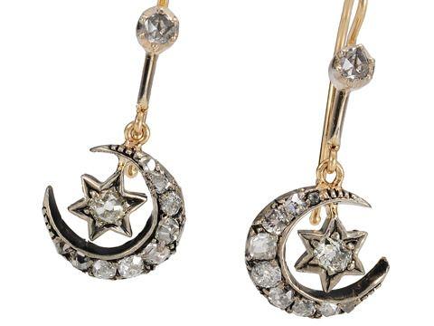 Victorian Crescent Moon Star Diamond Earrings The Three Graces