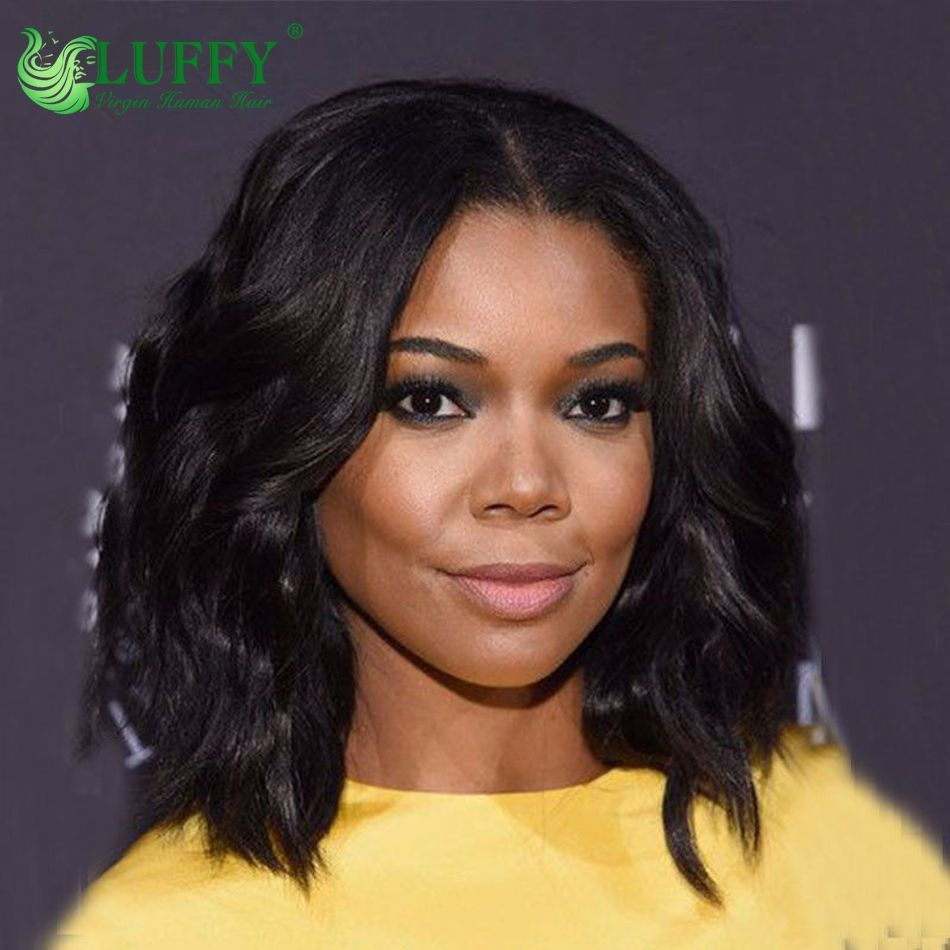 X middle part peruvian human hair wavy bob front lace wigs