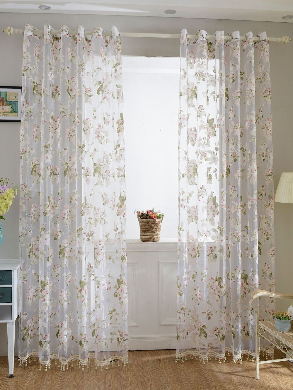 Flower Sheer Fabric Tulle Curtain With Beads Pendant Curtains Living Room Curtains Sheer Curtain Panels