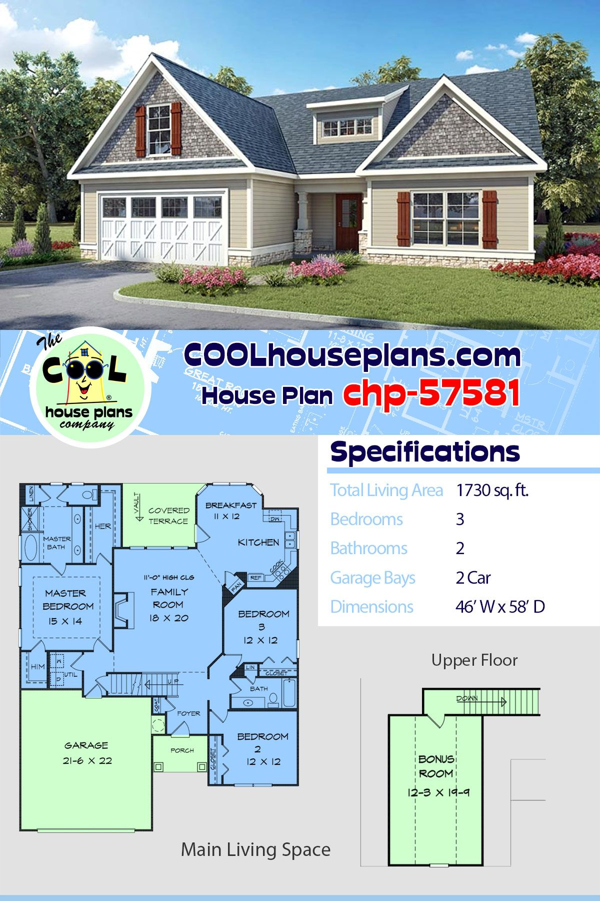 Traditional Style House Plan 60011 With 3 Bed 2 Bath 2 Car Garage Family House Plans Ranch House Designs Traditional House Plans