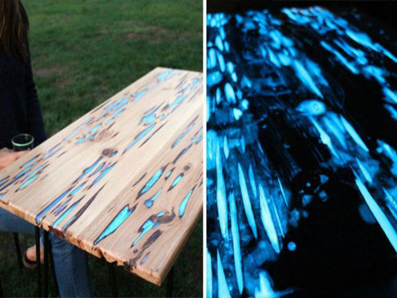 Phosphorescent fluorescent luminescent powder glow in the - Glow in the dark resin table ...