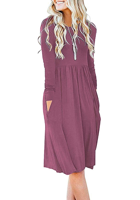 Db Moon Women S Casual Long Sleeve Knee Length Empire Waist Dress With Pockets Afflink Long Sleeve Casual Dress Long Sleeve Dress Loose Dress [ 1500 x 1050 Pixel ]