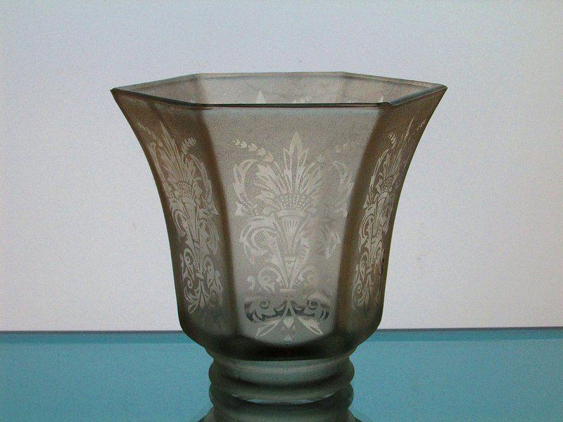 Glass lamp shade 2 18 fitter antique satin fleur de lis spray glass lamp shade 2 18 fitter antique satin fleur de lis spray pale amber mozeypictures Image collections
