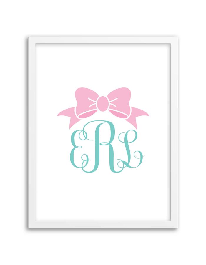 Bow Monogram (Light Pink-Aqua) | Monograms, Monogram generator and ...