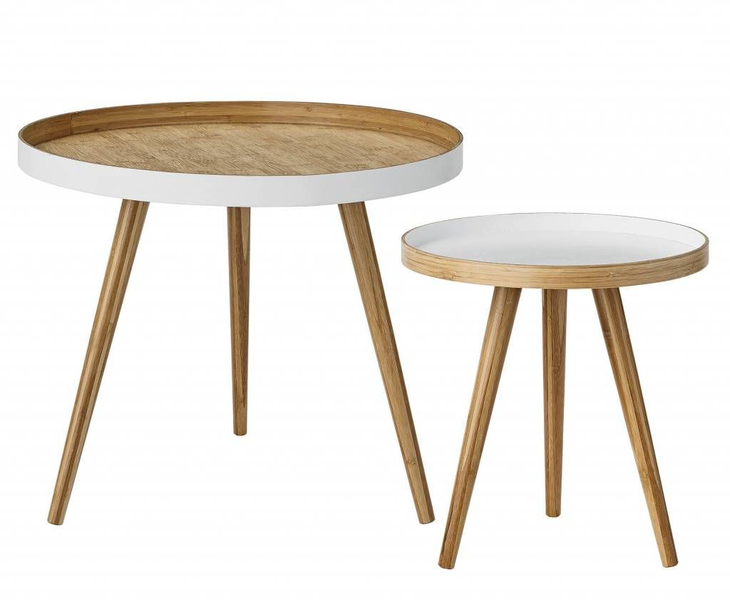 Table à Café Ronde Set De 2 Tables à Café Scandinave Ronde Bambou