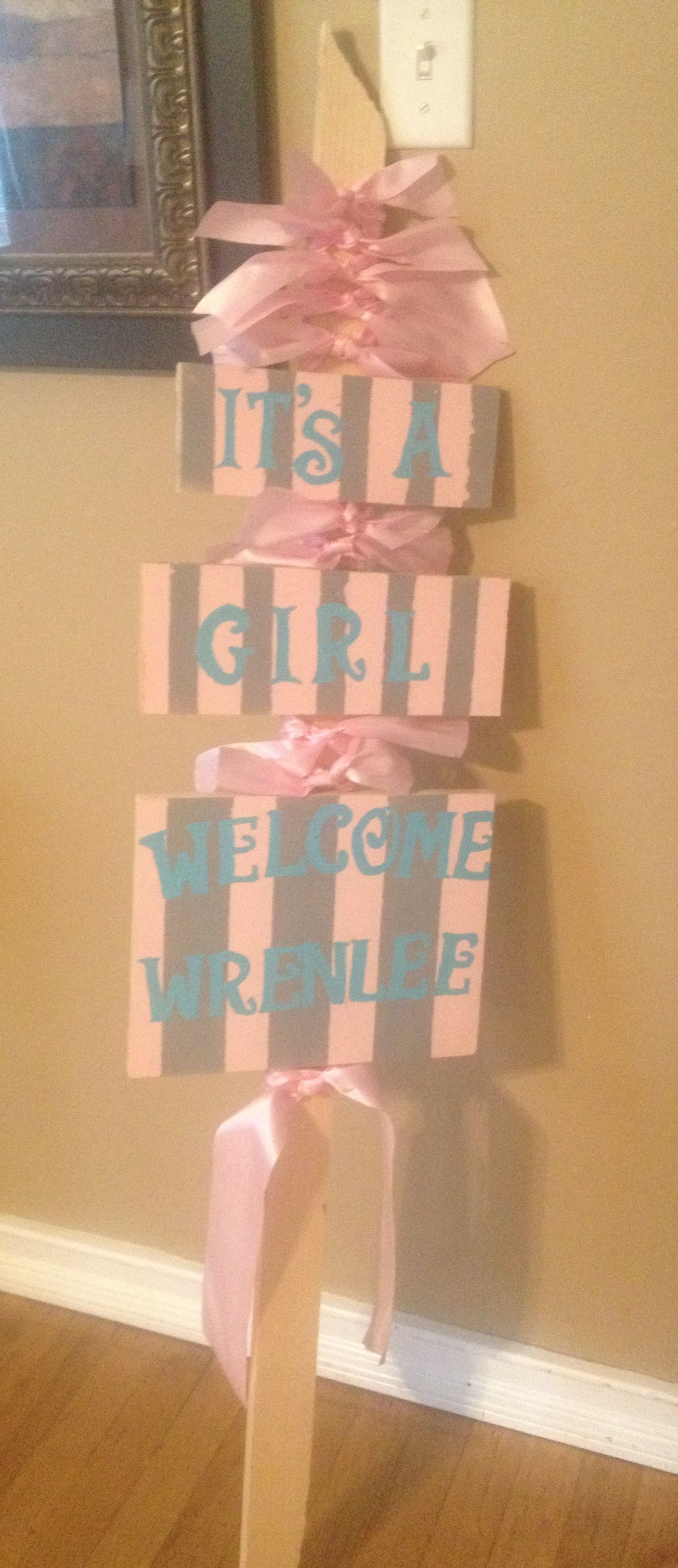 Welcome Baby Home Yard Sign. Ideas For Decorating Mailbox And Yard For The  New Parents