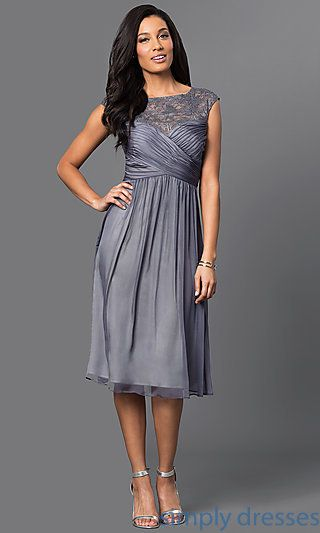 Shop graphite silver semi-formal dresses at Simply Dresses. Cheap knee- length mother-of-the-bride dresses with lace cap sleeves and ruched bodices. 2a870e884
