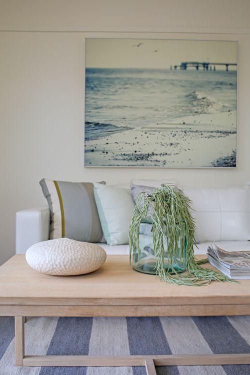 Shabby Chic, Coastal, Beach Style, Hamptons, Dining Room, White Leather Sofa